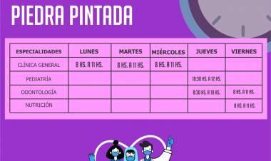 VILLA DOLORES : HORARIOS DE ATENCIÓN DEL DISPENSARIO DE PIEDRA PINTADA.