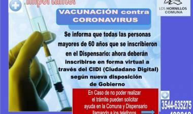 LOS HORNILLOS,TRASLASIERRA CÓRDOBA :  ATENCIÓN A TODOS LOS QUE SE REGISTRARON,PARA VACUNARSE CONTRA EL CORONAVIRUS.