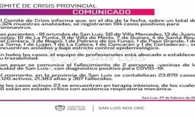 SAN LUIS : PARTE OFICIAL DEL SÁBADO 27 DE FEBRERO,SOBRE LA SITUACIÓN COVID-19.