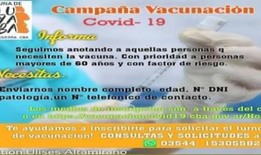 """LUYABA,TRASLASIERRA : ATENCIÓN """"CAMPAÑA DE VACUNACIÓN COVID-19, EN LA PEDANÍA."""""""