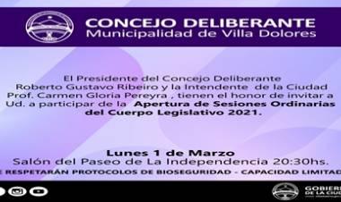 VILLA DOLORES : APERTURA DE SEIONES ORDINARIAS DEL CUERPO LEGISLATIVO 2021.