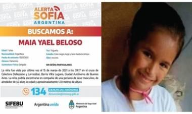 LANZARON EL ALERTA SOFÍA POR LA DESAPARICIÓN DE MAIA YAEL BELOSO , DE 7 AÑOS.