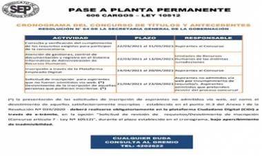 S.E.P INFORMA : PASE A PLANTA PERMANENTE - LEY 10512 (606 CARGOS)