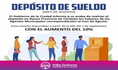 VILLA DOLORES : DEPÓSITO DE SUELDO - Mes de Agosto