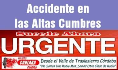 ACCIDENTE DE TRÁNSITO EN ALTAS CUMBRES.