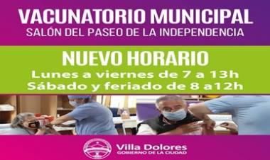 VILLA DOLORES : NUEVO HORARIO DE ATENCIÓN DEL VACUNATORIO COVID-19.