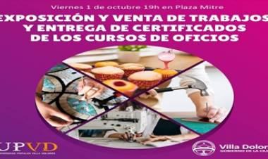 PRESENTACIÓN DE TRABAJOS Y ENTREGA DE CERTIFICADOS DE LOS CURSOS DE OFICIOS DE LA MUNICIPALIDAD DE VILLA DOLORES.