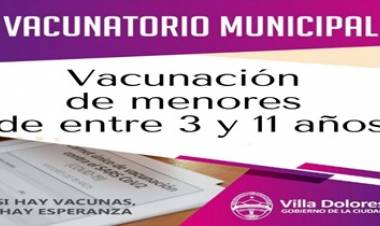 VILLA DOLORES : EL MARTES COMIENZA LA VACUNACIÓN CONTRA EL CORONAVIRUS PARA NIÑOS DE ENTRE 3 Y 11 AÑOS.