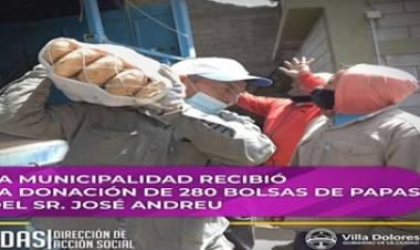 LA MUNICIPALIDAD DE VILLA DOLORES RECIBIÓ LA DONACIÓN DE 280 BOLSAS DE PAPAS.