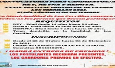 LOS CERRILLOS : CONVOCATORIA PARA CANDIDATAS/OS PARA REINA, REINITA Y REY, PARA EL XXXIV FESTIVAL PROVINCIAL DE LA PAPA.
