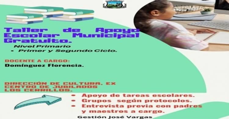 LOS CERRILLOS : SE BRINDARÁN TALLERES DE APOYO ESCOLAR A TODOS LOS ESTUDIANTES QUE NO PUEDAN ACCEDER ,EN FORMA PRIVADA.
