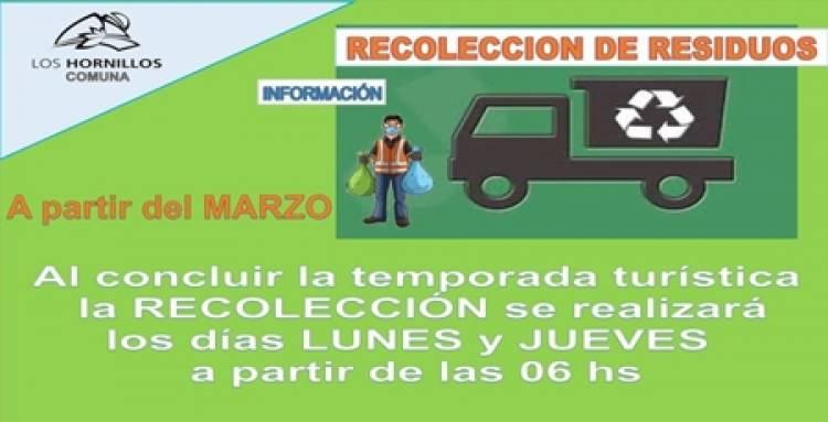 LOS HORNILLOS ,TRASLASIERRA : NUEVOS DÍAS PARA LA RECOLECCIÓN DE RESIDUOS.