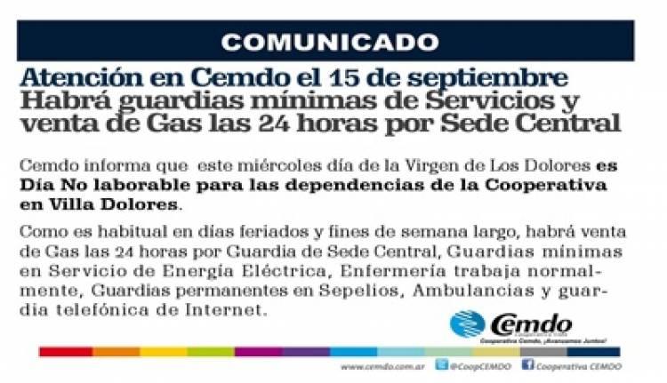 15 DE SEPTIEMBRE, C.E.M.D.O :  HABRÁ GUARDIAS MÍNIMAS DE SERVICIOS Y VENTA DE GAS LAS 24 HORAS POR SEDE CENTRAL.